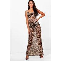 Leopard Print Strappy Maxi Dress - multi