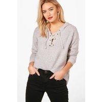 Lace Up Soft Knit Jumper - grey