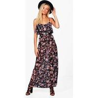 Strappy Floral Maxi Dress - black