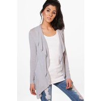 Fine Knit Waterfall Cardigan - light grey