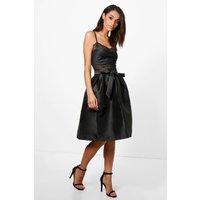 Bow Front Woven Box Pleat Midi Skirt - black
