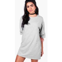 Eyelet Lace Up Sleeve Sweat Dress - light grey