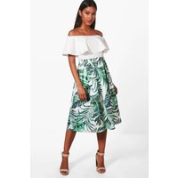 Palm Print Box Pleat Skater Skirt - multi