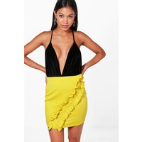 Ruffle Front Mini Skirt - lime