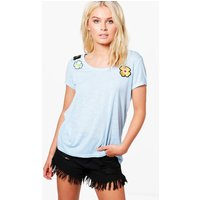 Floral Applique T-Shirt - blue