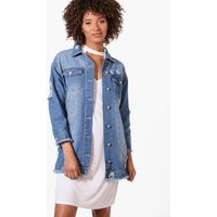 Fray Hem Longline Denim Jacket - blue