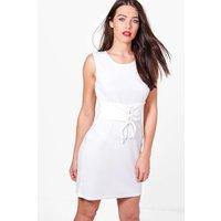 Rib Corset Belt Sleeveless Bodycon Dress - white