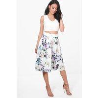 Floral Box Pleat Skater Skirt - ivory