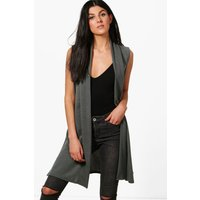 Sleeveless Duster Cardigan - grey