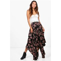 Floral Print High Low Hem Maxi Skirt - black