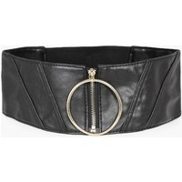 Oversized Ring & Zip Waist Belt - black