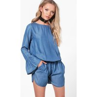 Flare Sleeve Denim Playsuit - blue