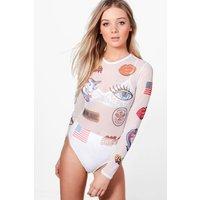 Badge Print Mesh Bodysuit - white