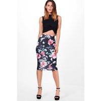 Floral Midi Skirt - black