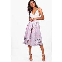 Pastel Floral Box Pleat Midi Skirt - lilac