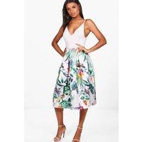 Tropical Floral Box Pleat Skater Skirt - multi