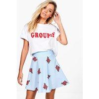 Floral Pinstripe Skater Skirt - blue