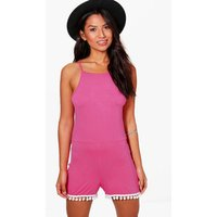Pom Pom Trim Halter Neck Playsuit - pink