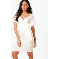 Puff Sleeve Bodycon Dress - white
