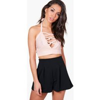 Fishnet Panel Strappy Plunge Crop - nude