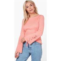 Lace Up Sleeve Rib Knit Jumper - dusky pink