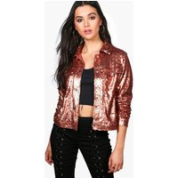 Sequin Trucker Jacket - bronze