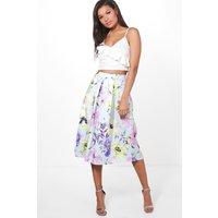 Large Summer Floral Box Pleat Skater Skirt - sky