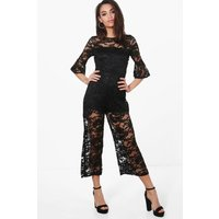 All Over Lace Culotte Jumpsuit - black