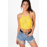 High Neck Crochet Bralet - yellow