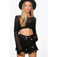 Crochet Bell Sleeve Crop Knit - black