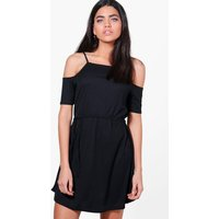Cold Shoulder Rib Knit Dress - black