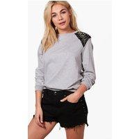 Premium Studded Shoulder Sweatshirt - grey