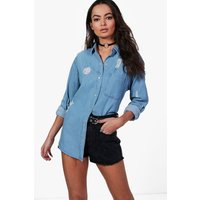 Oversize Distressed Denim Shirt - blue