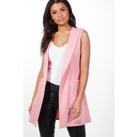 Shawl Collar Sleeveless Blazer - rose