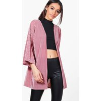 Velvet Rib Kimono - pink