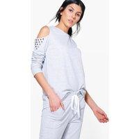 Boutique Studded Cold Shoulder Sweat Top - grey