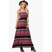 Aztec Shirred Woven Dress - multi