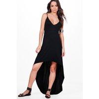 High Low Hem Strappy Maxi Dress - black