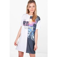 California Printed Spliced T-Shirt Dress - white