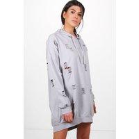 Distressed Hooded Sweat Dress - grey