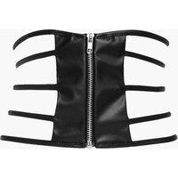 Strappy Zip Front Waist Belt - black