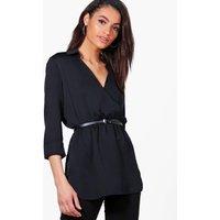 Wrap Over Premium Shirt - black
