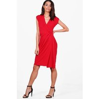 Wrap Front Midi Dress - red