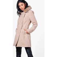 Faux Fur Collar Double Breasted Coat - stone