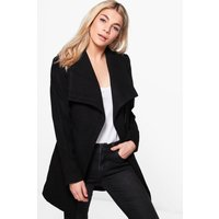 Wrap Belted Wool Look Coat - black