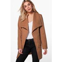 Wrap Belted Wool Look Coat - camel