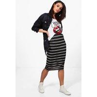 Monochrome Stripe Midi Skirt - black