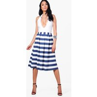 Box Pleat Striped Midi Skirt - navy