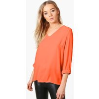 Plunge Collar Blouse - red