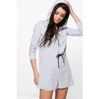 Hooded Drawstring Waist Sweat Playsuit - grey marl
